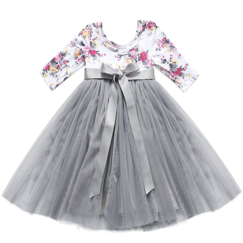 3 4 Sleeve Tulle Vintage Floral Princess Gray Dress For 1 12 Years Old Party Dress Long Sleeve Girls Easter Dresses Toddler Valentines Dress [ 1024 x 1024 Pixel ]