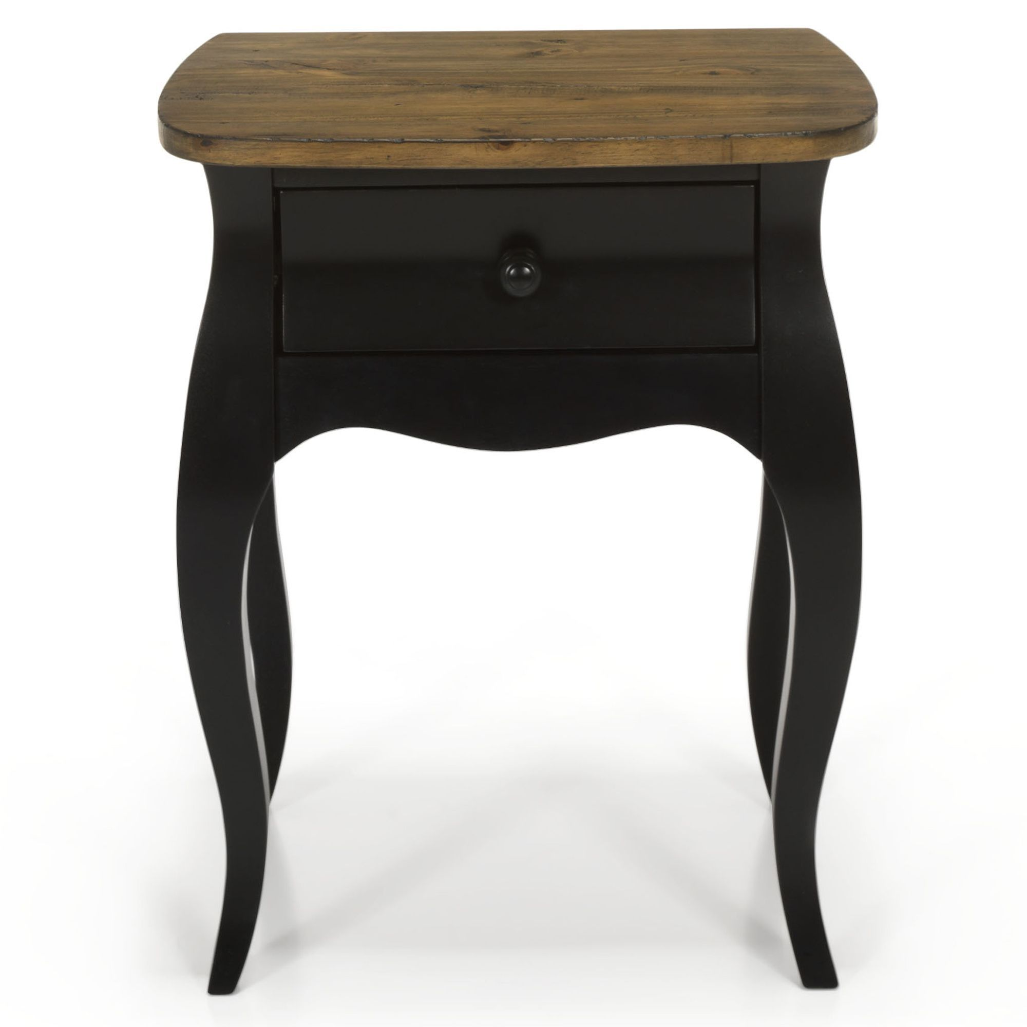 Chevet Romantique Noir 1 Tiroir Noir Avec Top Naturel Evelyn Les Tables De Chevet Chambre Decorati Mobilier De Salon Table De Chevet Alinea Meuble Deco
