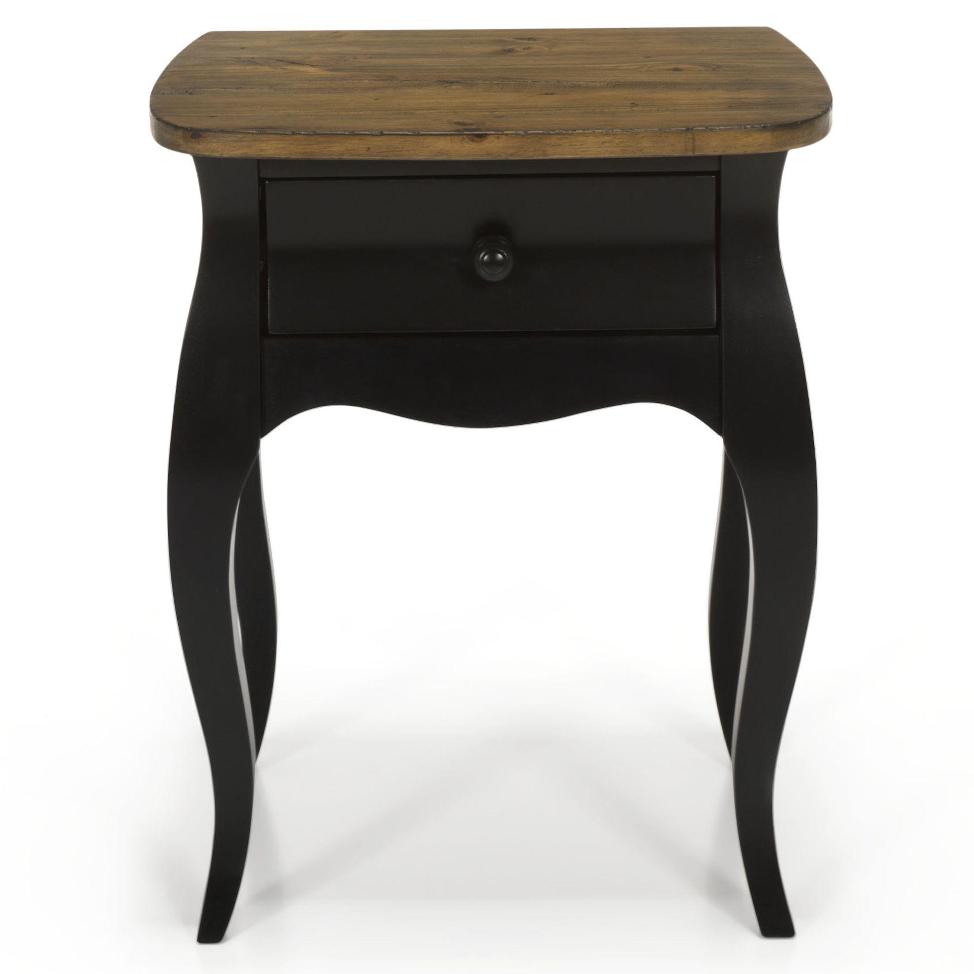 chevet romantique noir 1 tiroir noir avec top naturel evelyn les tables de chevet - Table De Nuit Alinea