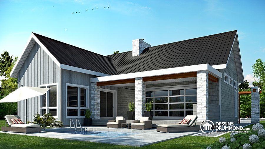 Détail du plan de Maison unifamiliale W3992 Maison Pinterest