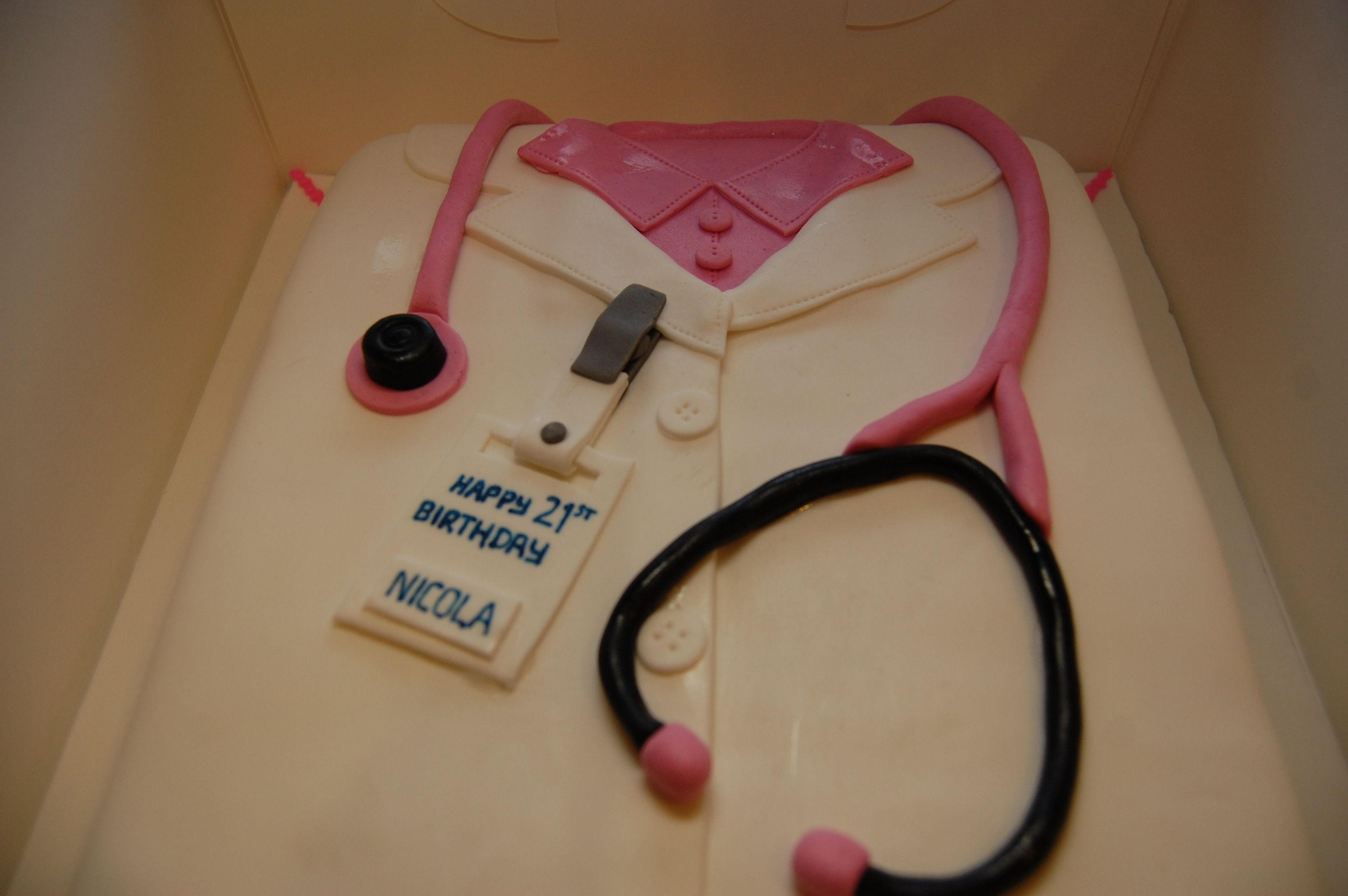 A doctors coat birthday cake for a very special 21st Doctor coat