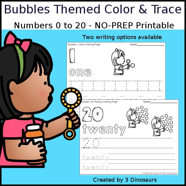 No-Prep Bubbles Themed Number Color and Trace - easy no-prep ...