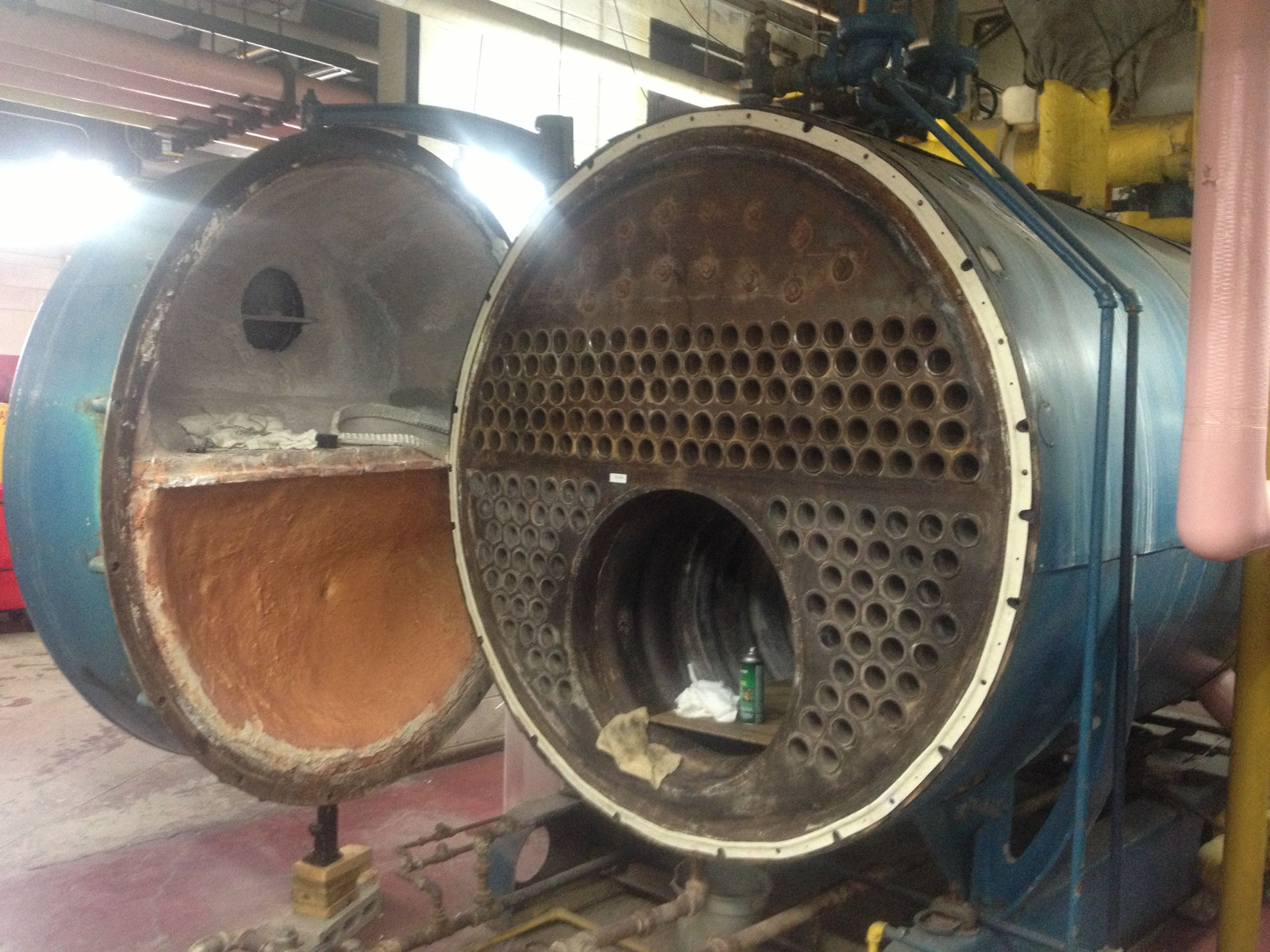 One Of The Old Cleaver Brooks Opened For Cleaning Furnace Repair Boiler Boilermaker
