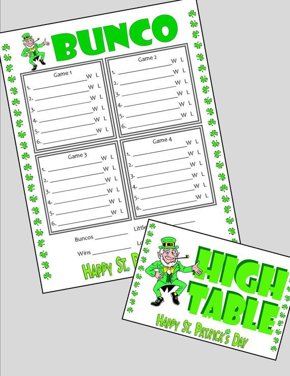 Bunco St PatrickS Day Printable Score Sheet By Ajlyonsdesigns