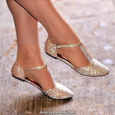 Mujeres Diamante De Imitación De Ballet Zapatos Flats T-Bar Bombas De Coreografía De La Boda Evening