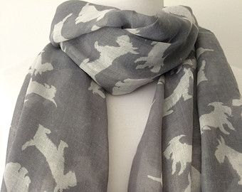 Westie Scarf Grey White West Highland Terrier Dog Ladies New Scottie Dogs Sarong