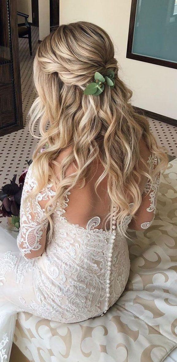 half up half down long wedding hairstyles  wedding