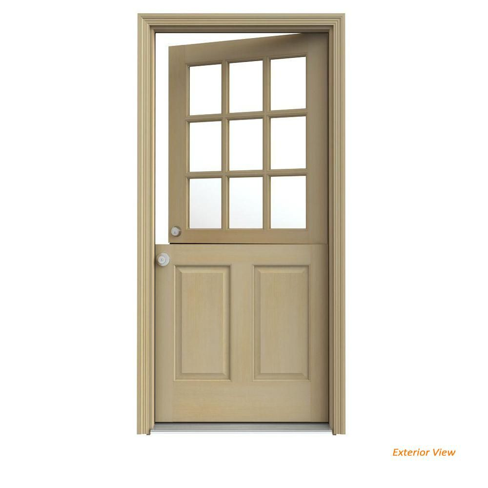 Jeld Wen 32 In X 80 In 9 Lite Unfinished Wood Prehung Right Hand Inswing Dutch Back Door With Auralast Jamb And Brickmold O10876 Wood Front Doors Back Doors Dutch Door