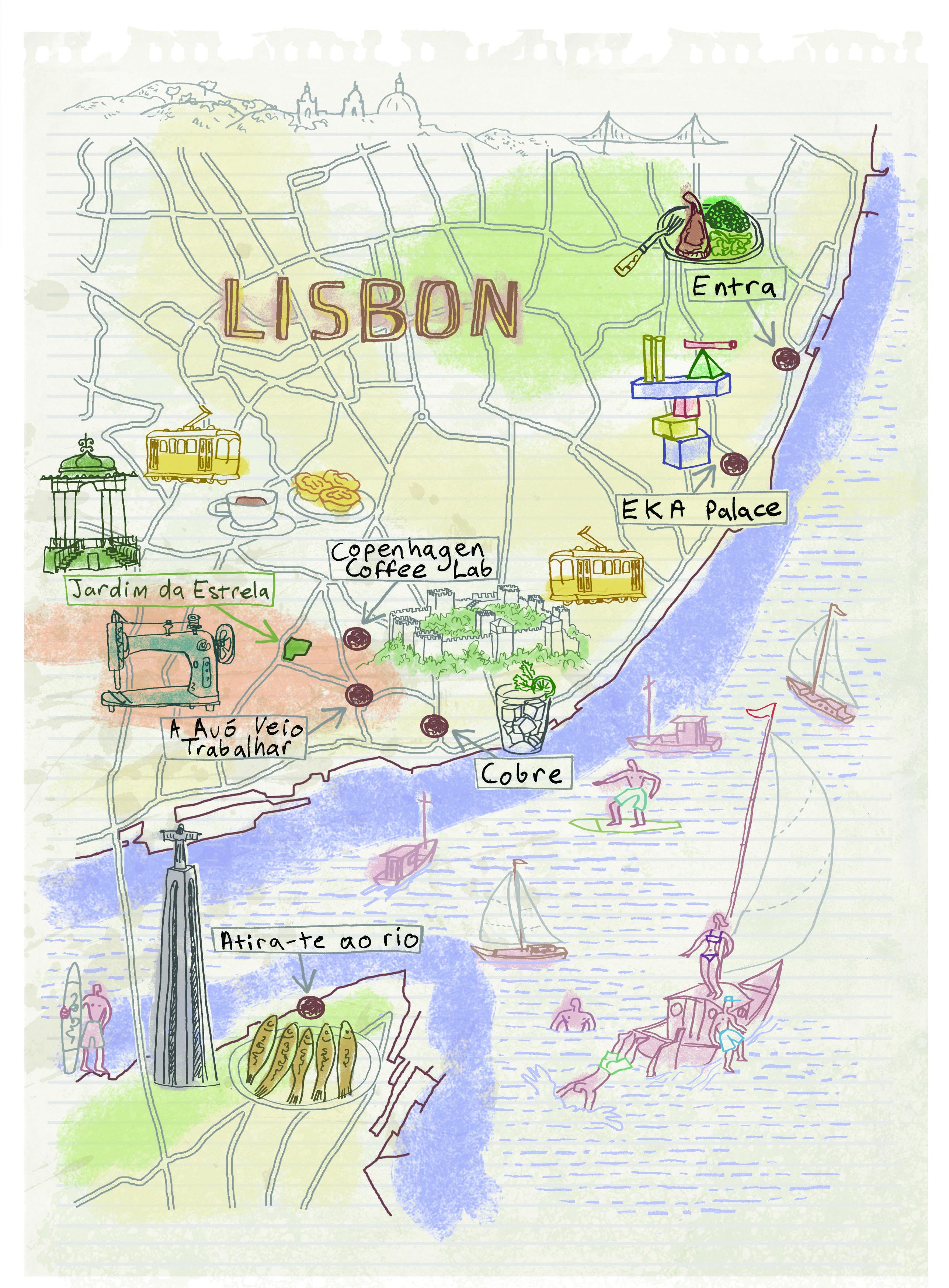 Lisbon map by Robert Littleford Illustrated maps