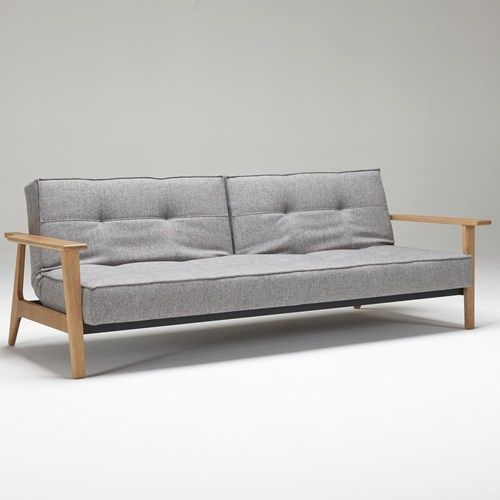 Innovation Splitback Frej Sofa Bed With Wood Arms And Split Back