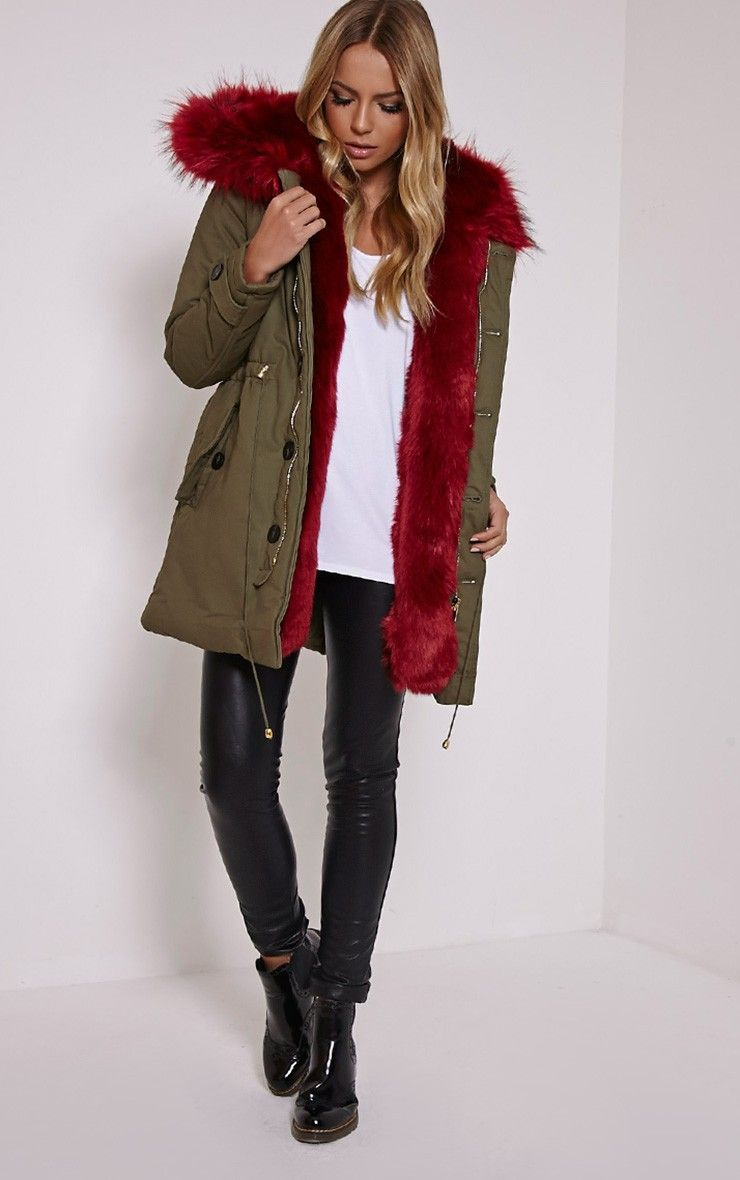 Red Faux Fur Hooded Full Fleece Parka Coat Khaki Green | Ready-to ...
