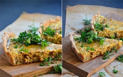 Opskrift på grovtærte med oksekød og sød kartoffel