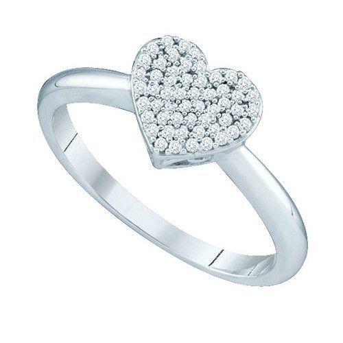 10k White Gold 0.15Ctw Diamond Micro Pave Heart Ring: Ring