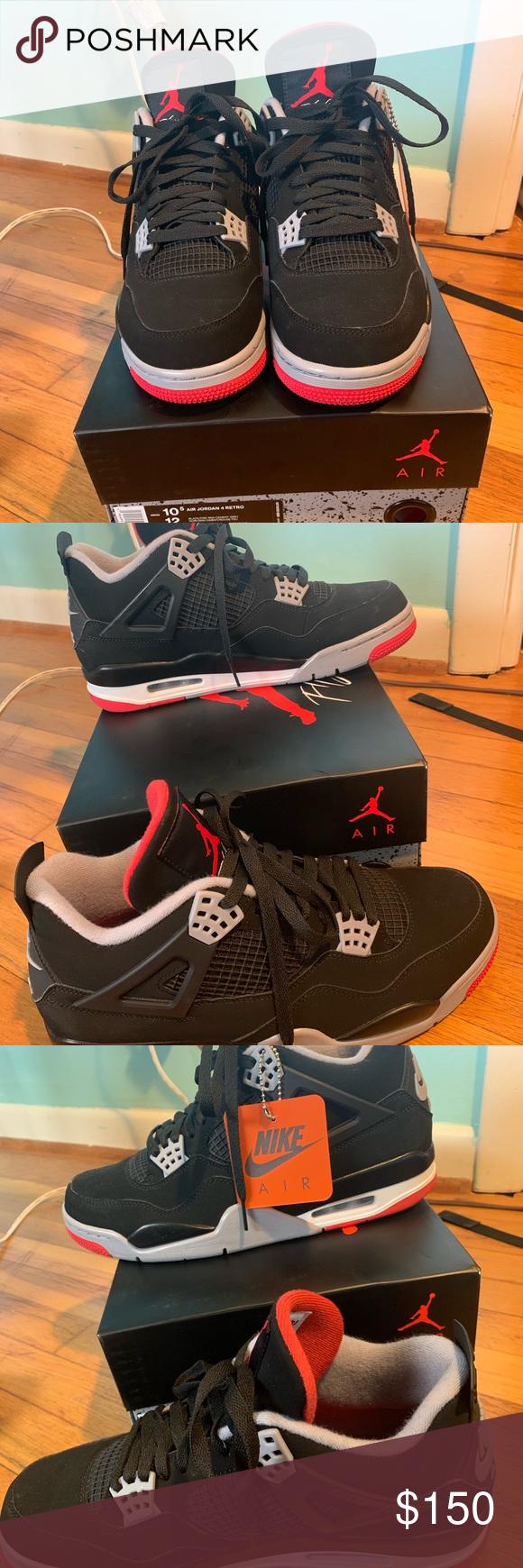Air Jordan 4 Bred Size 10.5 2019 Retro