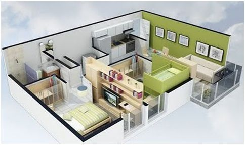Free 3D Small House Floor Plans With 2 Bedroom