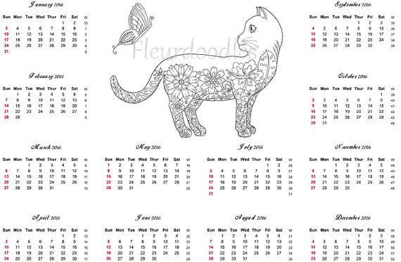 Kalender 2016 Katze extra Malseite Jahreskalender von Fleurdoodles ...