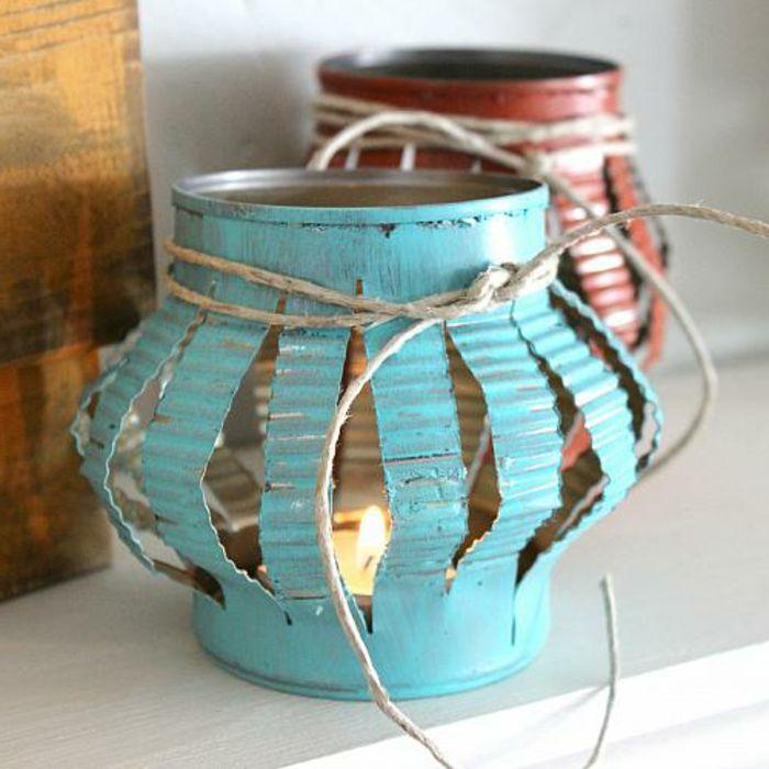 Barattolo latta colore azzurro rosso fai da te lanterna for Lavori creativi fai da te per la casa
