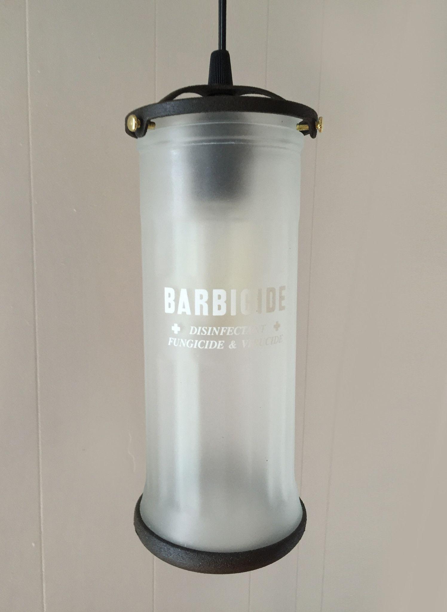 Vintage Barber Jar Pendant Lamp | October Design Co. #barbicide #barbershop #beard #hair