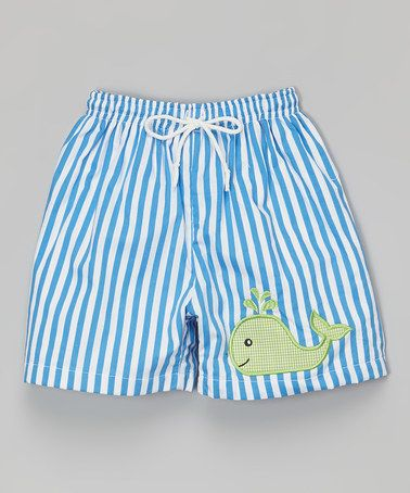 5bed4e41a Loving this Blue Stripe Whale Swim Trunks - Infant & Toddler on #zulily! # zulilyfinds