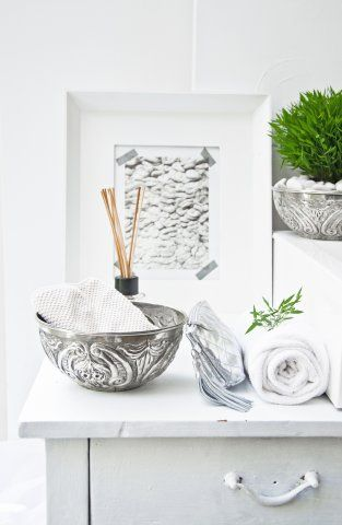 Moroccan Hammam Bathroom Accessories Love The Engraved Silver Bowl