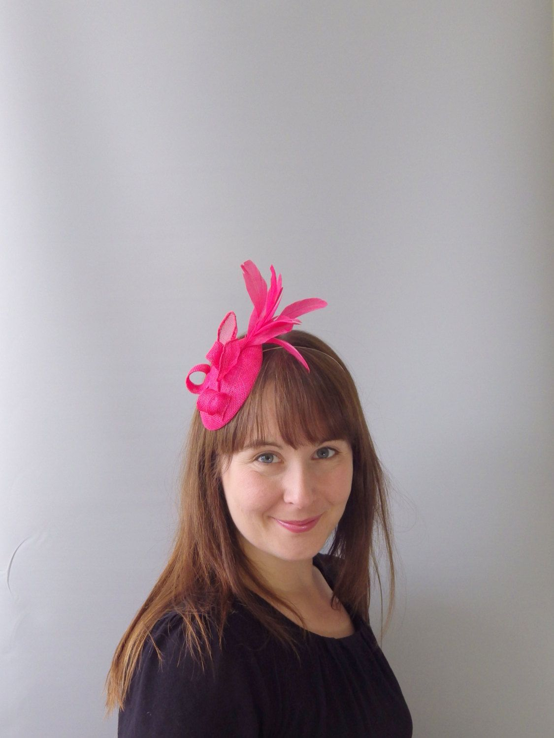 3a137346037 Bright Pink Fascinator Cocktail Hat. Sinamay Straw Head Piece Headband. For  Weddings