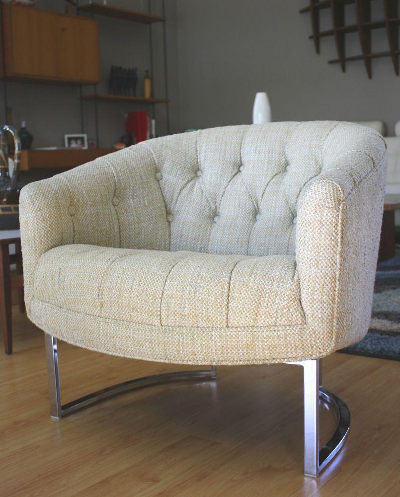 Pleasing Vtg 72 Mid Century Modern Woodmark Club Chair Chrome Legs Dailytribune Chair Design For Home Dailytribuneorg