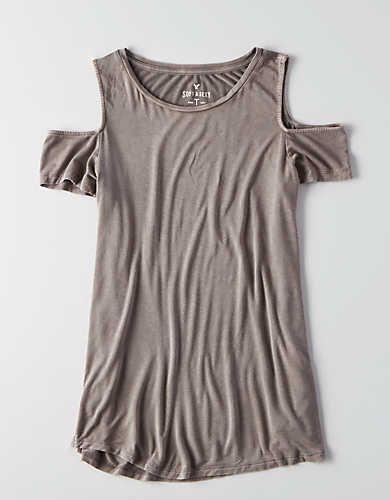 e896aad6c58612 AEO Soft   Sexy Cold Shoulder T-Shirt