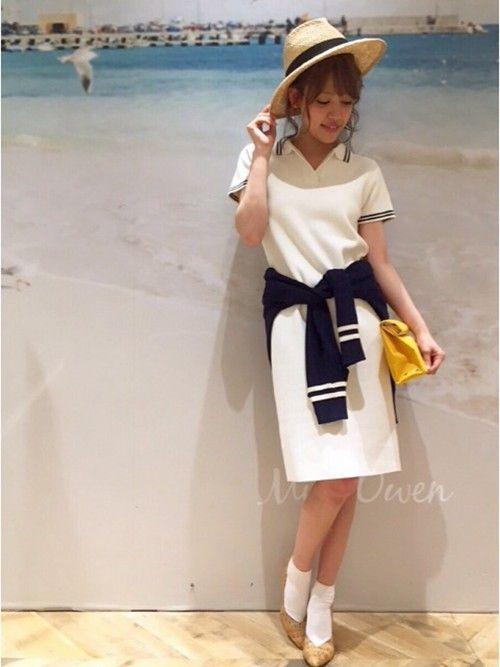 Mila Owen|miyu maesakaさんのワンピース「ポロニットOPS(Mila Owen|ミラ オーウェン)」を使ったコーディネート