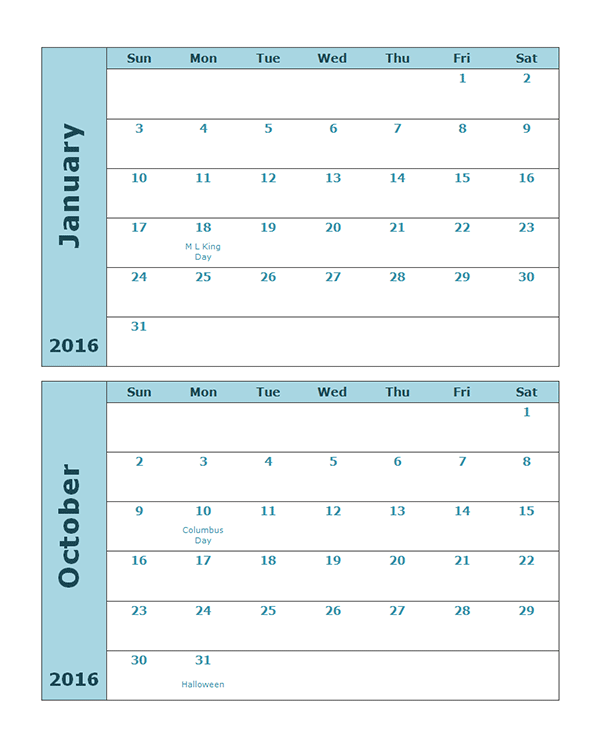 2016 Monthly Calendar Template 20P