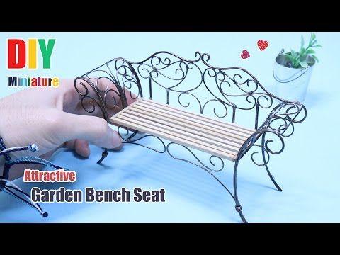 DIY Miniature Furniture Attractive Garden Bench Seat 미니어처 가구 만들기 정원의자 벤치 - YouTube