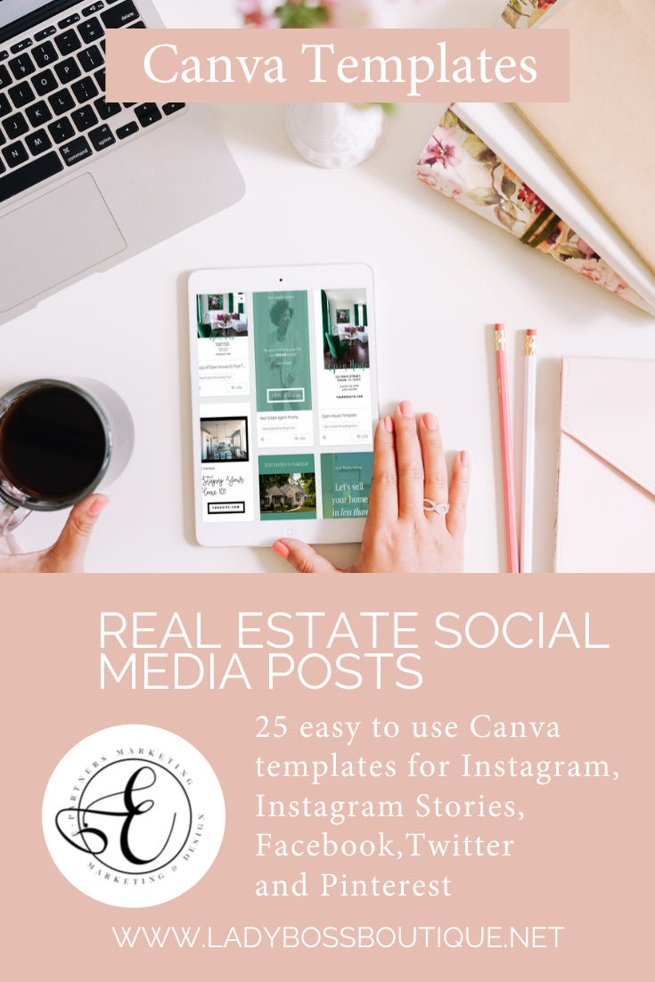 Real Estate Social Media Posts Canva Templates Lady Boss Biz Boutique In 2020 Social Media Post Social Media Social Media Template