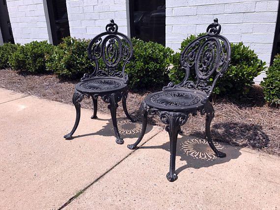 ADAMS NAVILLUS Antique Cast Iron Garden Chairs - Set of 2 - ADAMS NAVILLUS Antique Cast Iron Garden Chairs - Set Of 2 Antique