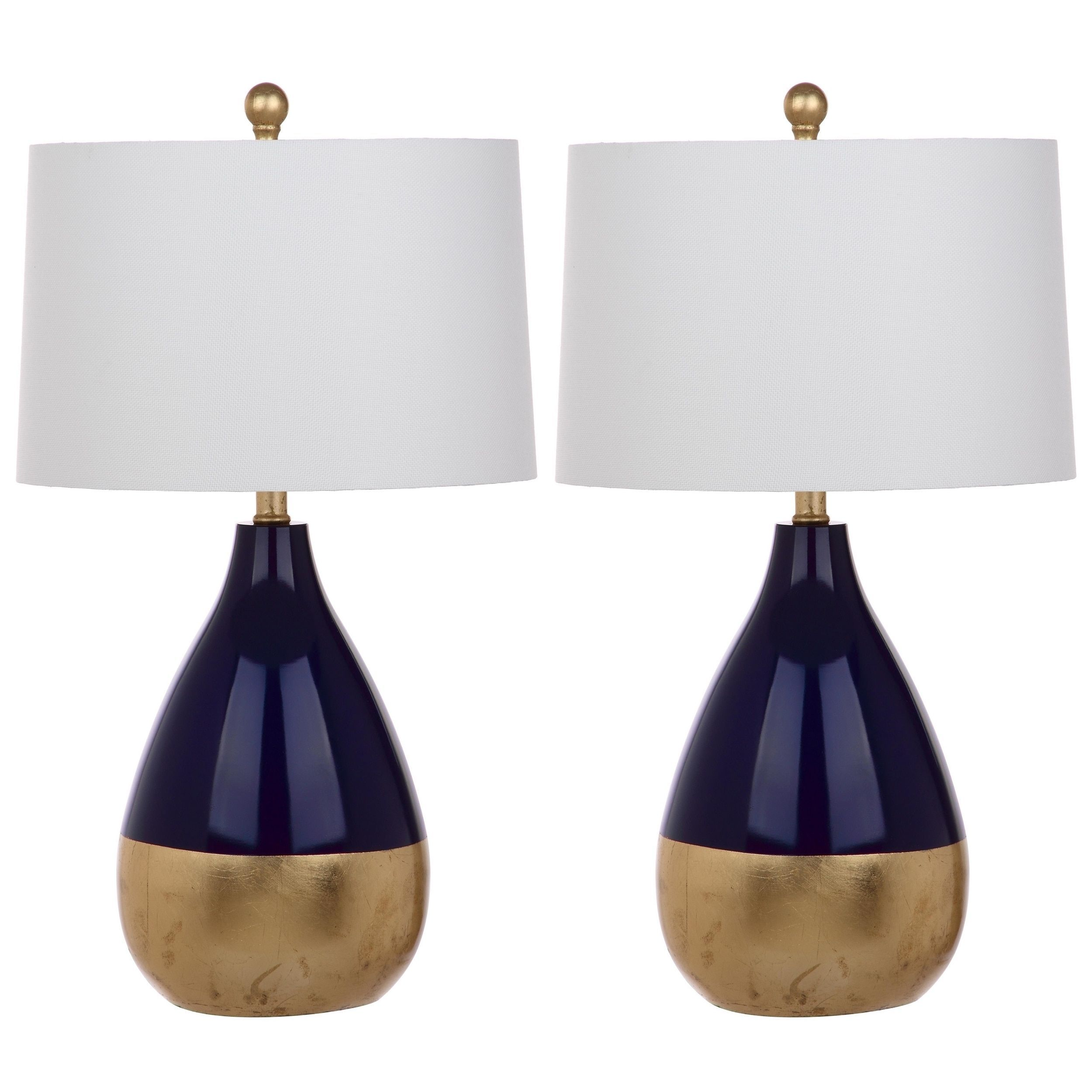 Safavieh Lighting Kingship 24 Inch Navy And Gold Table Lamp Set Of
