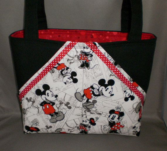 Fabric Tote Bag - Purse - Pocket Tote - Mickey Mouse - Minnie Mouse ...