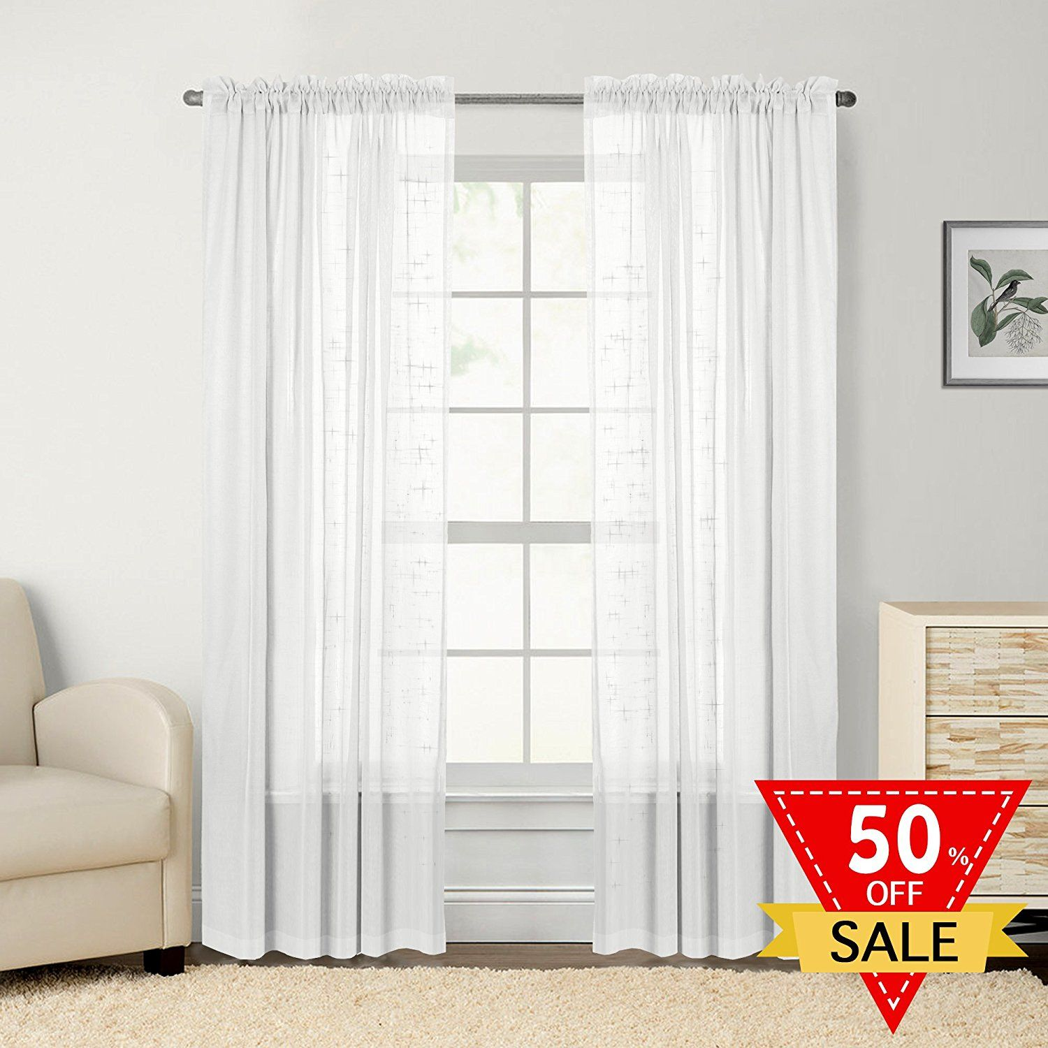 FlamingoP Faux Linen Sheer Curtains / Drapes for Bedroom Window ...