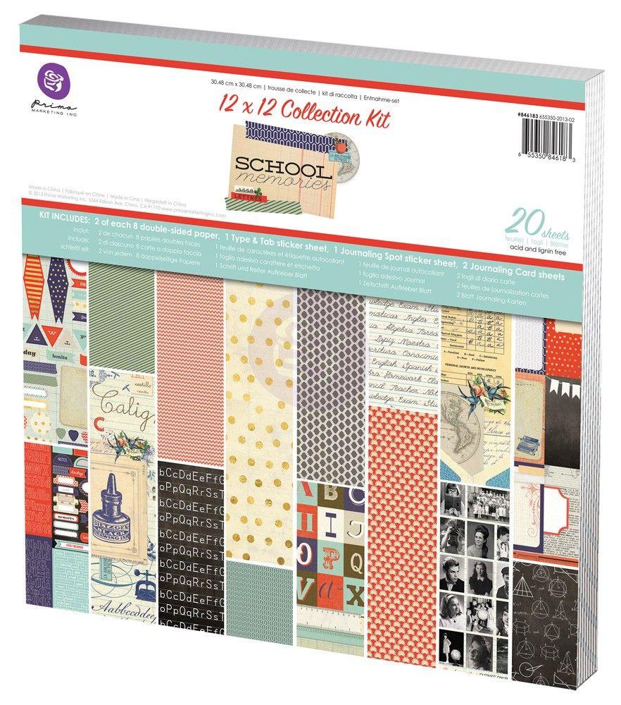 Scrapbook paper pads - Prima Marketing School Memories 12x12 Scrapbook Paper Pad