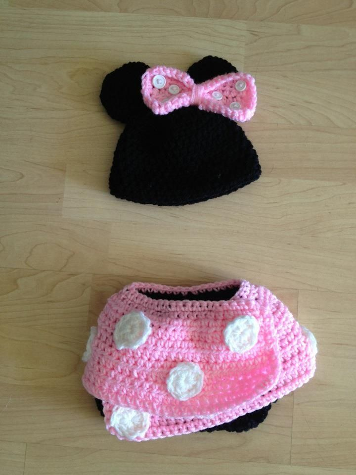 Newborn Crochet Minnie Mouse Hat With Skirtdiaper Cover M Crochet