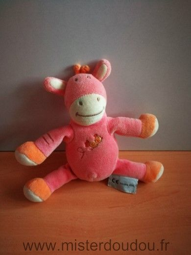 Doudou Girafe Amtoys Rose orange oiseau   les doudous de ... f4be54449b8