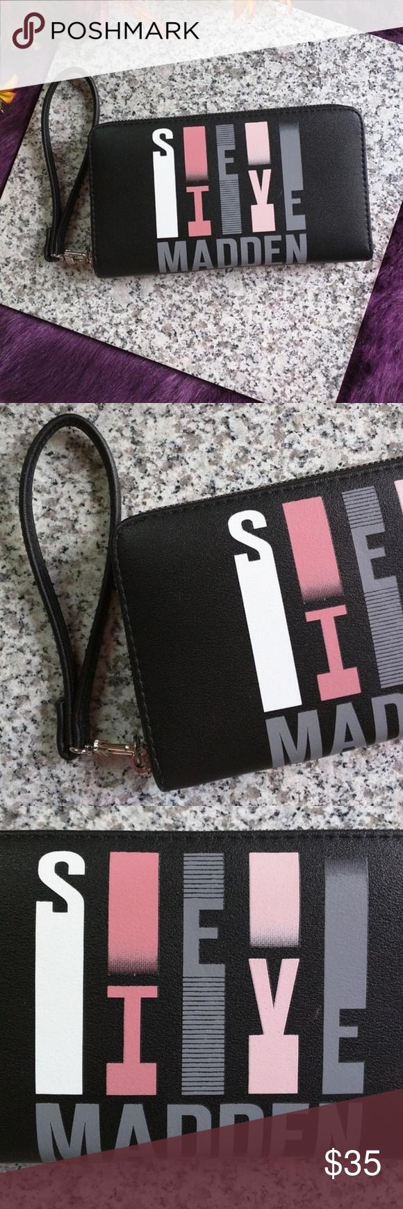 Steve Madden Zip Around Wallet Vertical Logo Nwot Steve Madden Zip Around Wallet With Vertical Logo Color Black Steve Madden Bags Logo Color Things To Sell