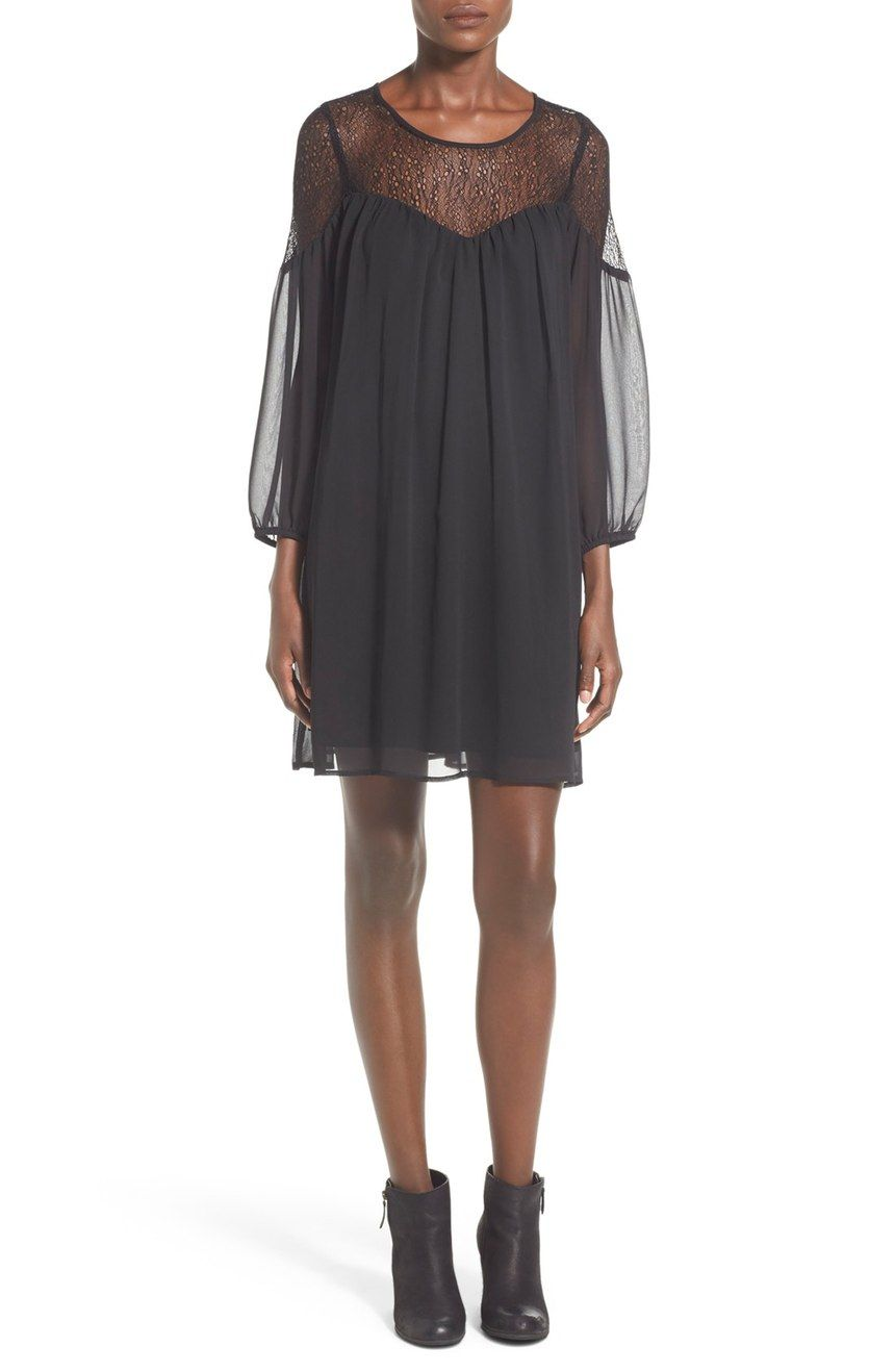 Free shipping and returns on Want & Need Illusion Yoke Shift Dress at Nordstrom.com. An illusion yoke and sheer sleeves accentuate the floaty design of a fluid shift dress designed with a full, flowing silhouette.