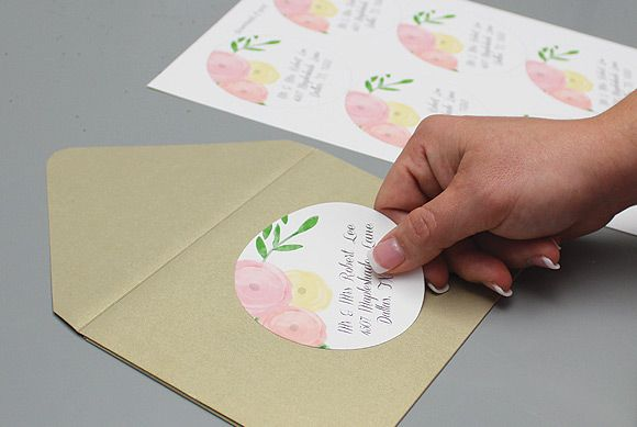 Diy Addressing Wedding Invitations: Wedding Invitation Template With Watercolor Flowers