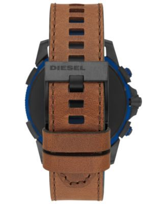 Diesel Men S Full Guard 2 5 Brown Leather Strap Touchscreen Smart Watch 48mm Powered By Wear Os By Google Reviews Watches Jewelry Watches Macy S Leather Brown Leather Track Workout