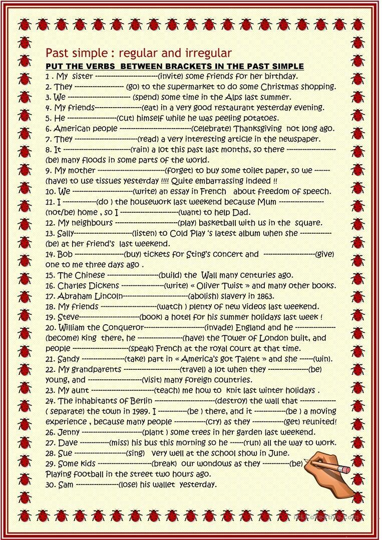 Past Simple Regular And Irregular Worksheet Free Esl Printable Worksheets Made By Teachers Simple Past Tense English Grammar Teaching English Grammar [ 1079 x 763 Pixel ]