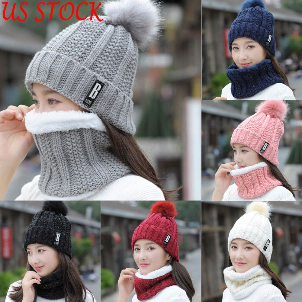 2Pcs Fall Winter Baby Hat and Scarf Soft Beanie Hat with Snood Scarf Neck Warmer