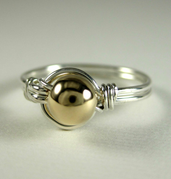 Mixed+Metals+Ring+Wire+Wrapped+Sterling+Silver+and+by+holmescraft,+$22.00