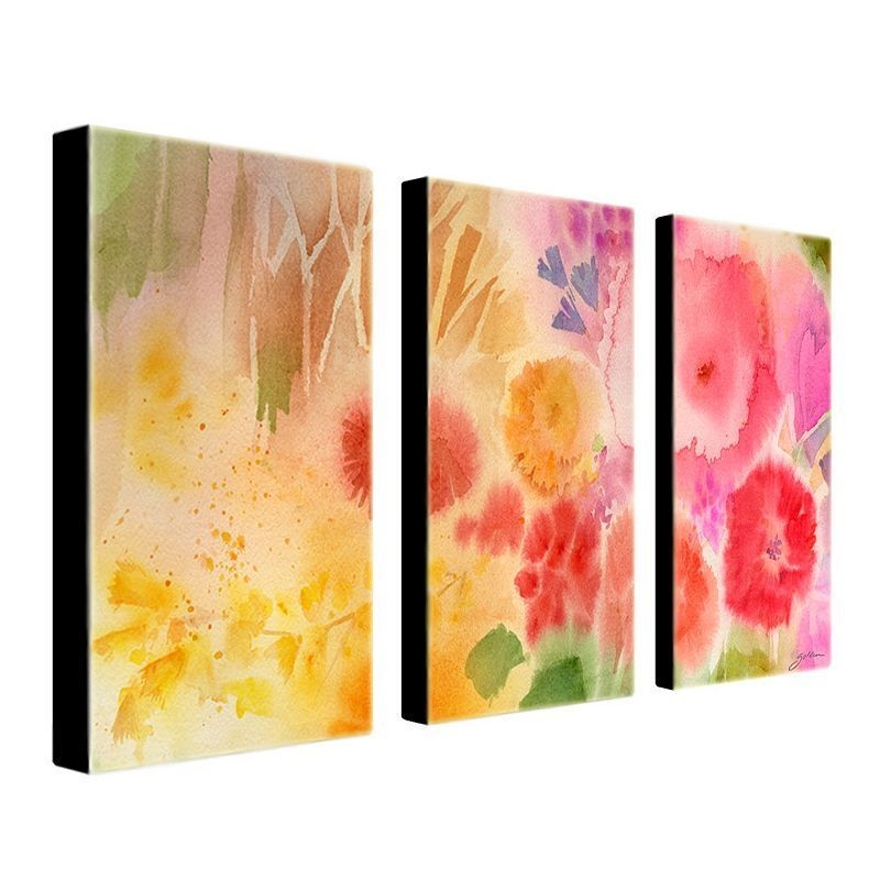 Wood Flower 3-pc. Wall Art Set by Sheila Golden, Multicolor | Wall ...