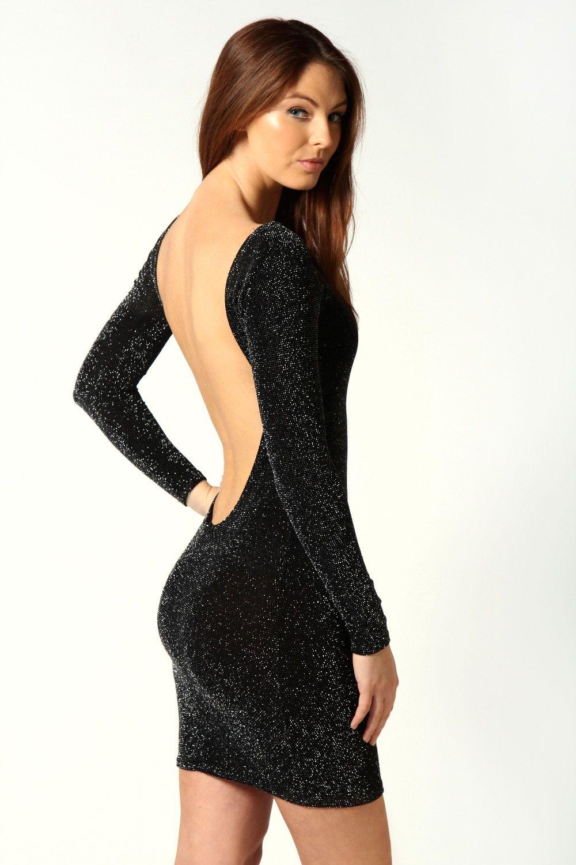 Sarah Metallic Extreme Scoop Back Bodycon Dress at boohoo.com ...