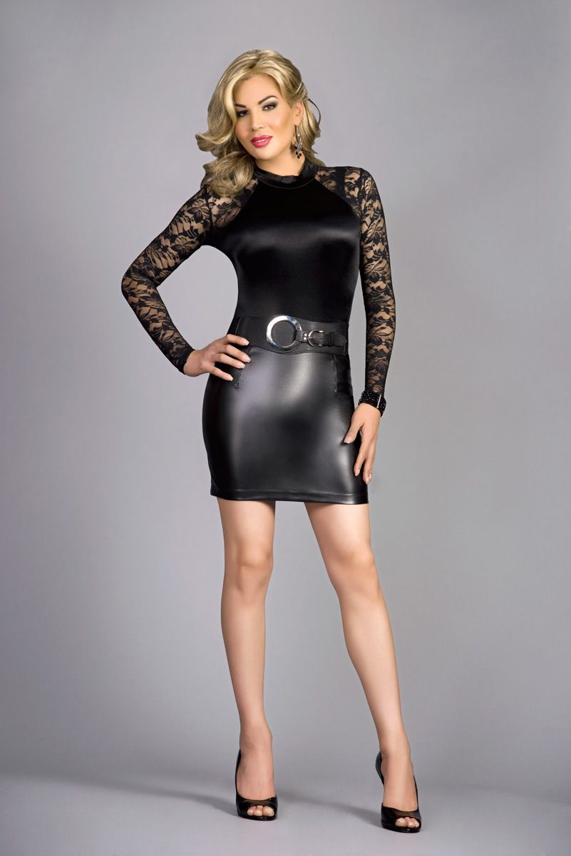 Transgender fashon and Clothing Style from En Femme! Satin Teddy top and  sleek leather mini. Go Gurl   Rock it! ee3cdda3a2e