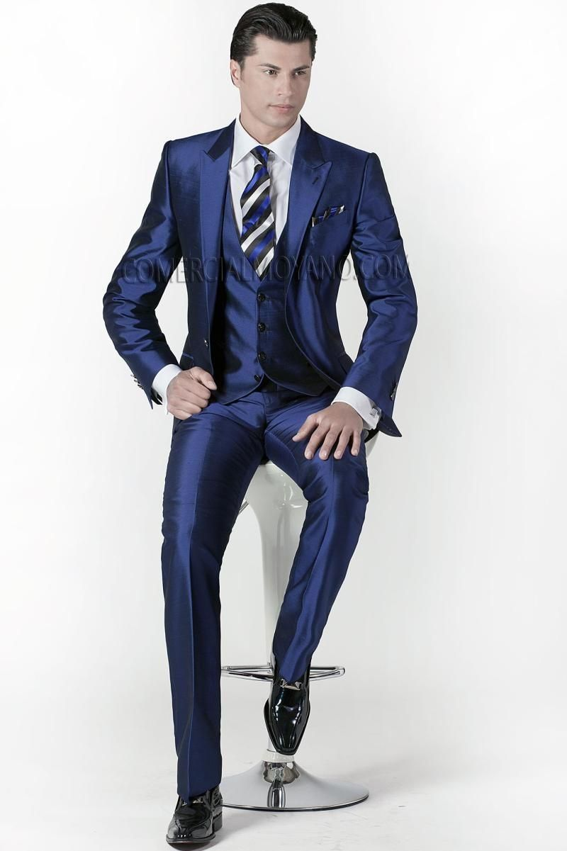 Custom Made Groom Tuxedos Peak Lapel Men'S Suit Shiny Navy Blue ...