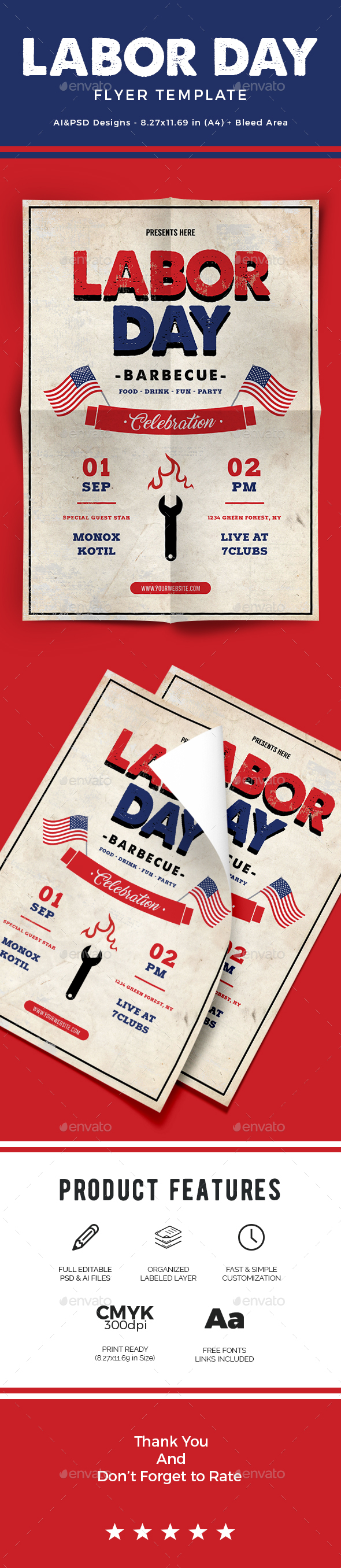 Labor Day Flyer Template PSD, AI Illustrator. Download Here: Https://